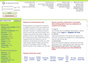 Dreamstime website in 2004