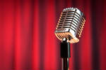 Stock photo microphone and curtain