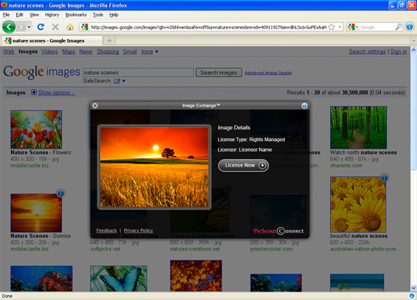 PicScout ImageExchange Firefox Plugin Screenshot