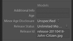 Release metadata as seen in Adobe Lightroom 3