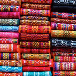 Colorful Blankets in Ecuador stock photo, Holger Mette