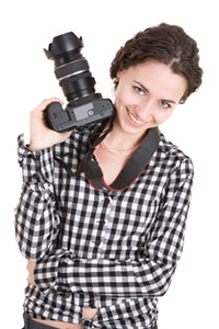 Happy photographer stock photo