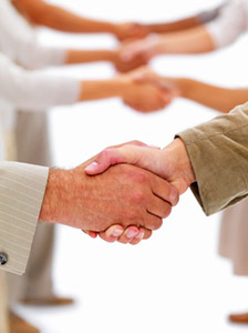 Multiple handshakes stock photo