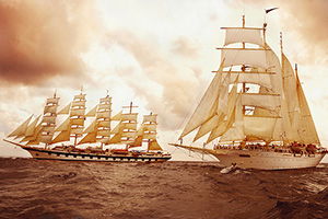 This is the ship you will be sailing on (background ship with 42 sails)